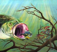 Large Mouth Bass and Clueless Bait Fish by Sonya Ann Barnes