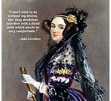 Ada Lovelace (Portrait by Alfred Chalon) Photographic Print
