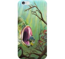 Large Mouth Bass and Clueless Bait Fish iPhone Case/Skin