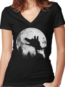Bark At The Moon! Women's Fitted V-Neck T-Shirt
