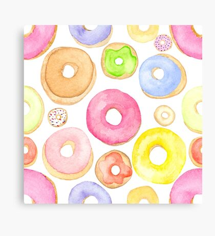 Water Colored Donuts Canvas Print