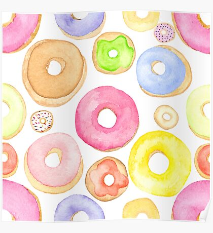 Water Colored Donuts Poster