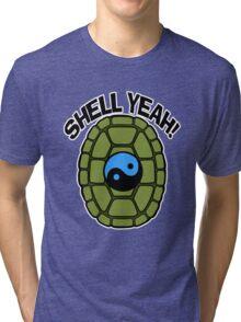 Shell Yeah Blue Sticker Tri-blend T-Shirt