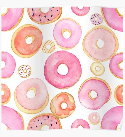 Strawberry Water Colored Donuts Poster