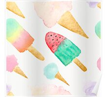Water Colored Ice Cream Poster