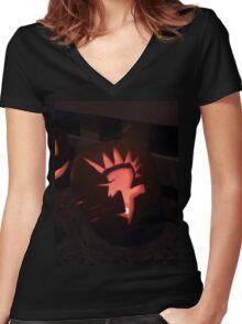 Punk Rock Pumpkin Women's Fitted V-Neck T-Shirt