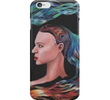 Blue Peacock Girl with Flowing Hair  iPhone Case/Skin