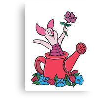 Piglet in a Watering Can Canvas Print