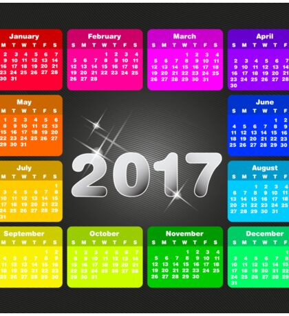 2017 Calendar in bright rainbow colors Sticker