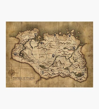 Skyrim map Photographic Print