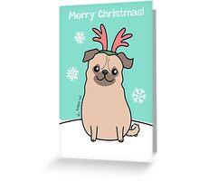 Pug Wearing Reindeer Antlers Greeting Card