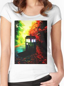 tardis colorful starry night Women's Fitted Scoop T-Shirt