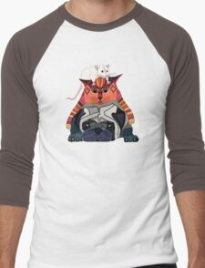 mouse cat pug chocolate Men's Baseball ¾ T-Shirt