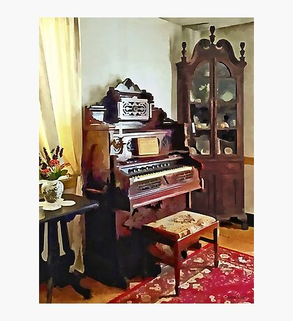 Organ in Victorian Parlor with Vase Photographic Print