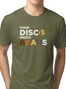 ROBUST Bear your disco needs bears white Tri-blend T-Shirt