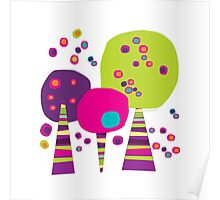 Three colourful trees Poster