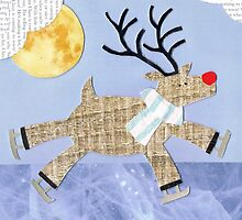 Ice Skating Reindeer by Susannah Burton-Hopkins