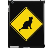 Cat Crossing Traffic Sign - Diamond - Yellow & Black iPad Case/Skin