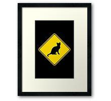 Cat Crossing Traffic Sign - Diamond - Yellow & Black Framed Print