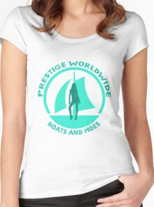 Prestige Worldwide. Company logo, boats and hoes (ho's) Women's Fitted Scoop T-Shirt
