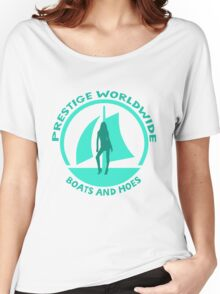Prestige Worldwide. Company logo, boats and hoes (ho's) Women's Relaxed Fit T-Shirt