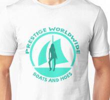 Prestige Worldwide. Company logo, boats and hoes (ho's) Unisex T-Shirt
