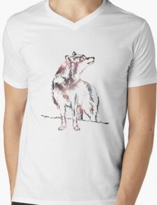 Funky Wolf Mens V-Neck T-Shirt