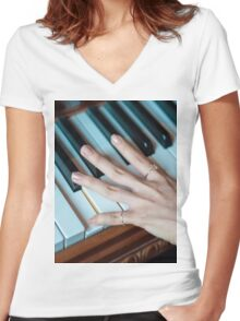 music piano Women's Fitted V-Neck T-Shirt