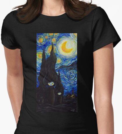 Kokeshis Starry Night Womens Fitted T-Shirt