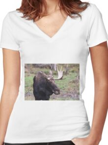 Large moose in a forest Women's Fitted V-Neck T-Shirt