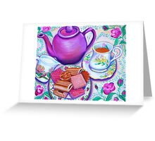 Pink Tea with Roses Greeting Card