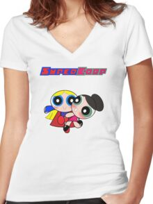 Super(puff)Corp  Women's Fitted V-Neck T-Shirt
