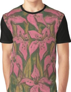 Pink Lilies, pastel painting, floral art Graphic T-Shirt