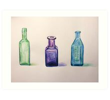 Antique Glass Bottles Painting Art Print