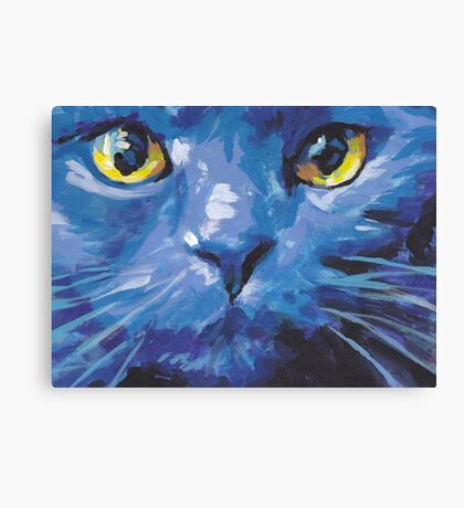 Russian Blue Cat Bright colorful pop kitty art Canvas Print