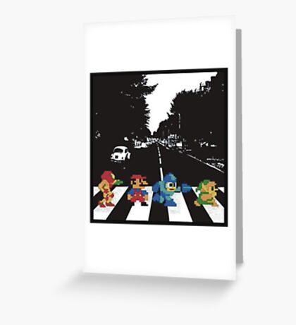 Nintendo Sprites on Abbey Road Greeting Card