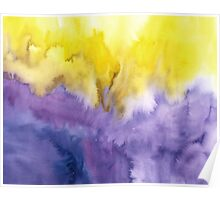 Abstract watercolor - yellow and purple Poster