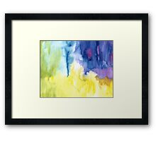 Abstract watercolor - yellow, blue and purple Framed Print
