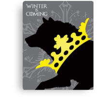 Game of Thrones House Stark Winter is Coming Crowned Wolf Canvas Print