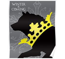 Game of Thrones House Stark Winter is Coming Crowned Wolf Poster