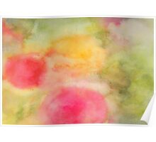 Abstract watercolor - yellow, green and pink Poster
