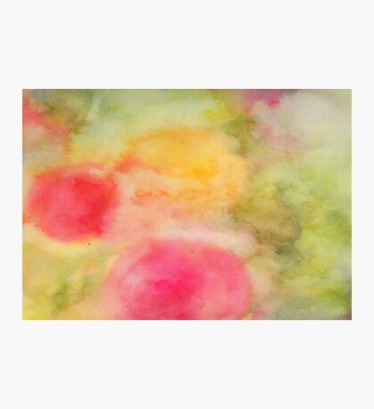 Abstract watercolor - yellow, green and pink Photographic Print