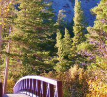 MAMMOTH LAKES BRIDGE OVER BABBLING BROOK WITH FALL COLORS Sticker