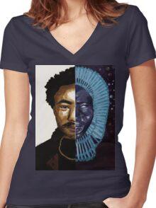 Awaken Gambino Women's Fitted V-Neck T-Shirt