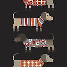 Sausage Dogs in Sweaters Dark by Nic Squirrell