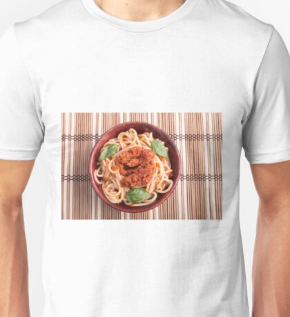Top view of a thin spaghetti in a brown small wooden bowl Unisex T-Shirt