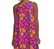 Giraffe Fur Texture in Wild Colors A-Line Dress
