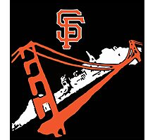 San Francisco Giants Stencil Black Background Photographic Print