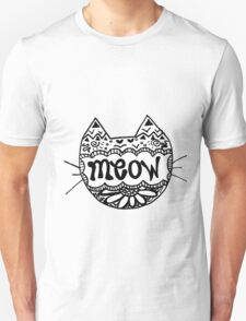 """Decorated """"Meow"""" Cat Unisex T-Shirt"""