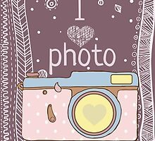 Vector hand drawn photo camera with text by krambik